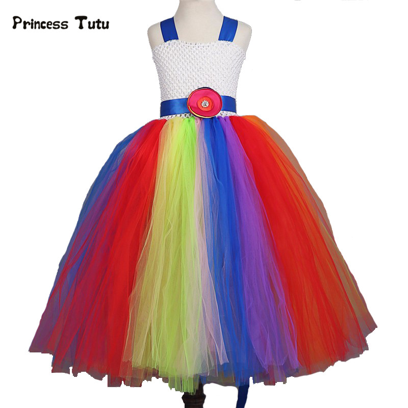 New Flower Girl Dresses Princess Rainbow Tutu For Wedding Party Infant Toddler Girls Dress Kids Girl Tulle Princess Tutu Dress girls dress 2017 new summer flower kids party dresses for wedding children s princess girl evening prom toddler beading clothes