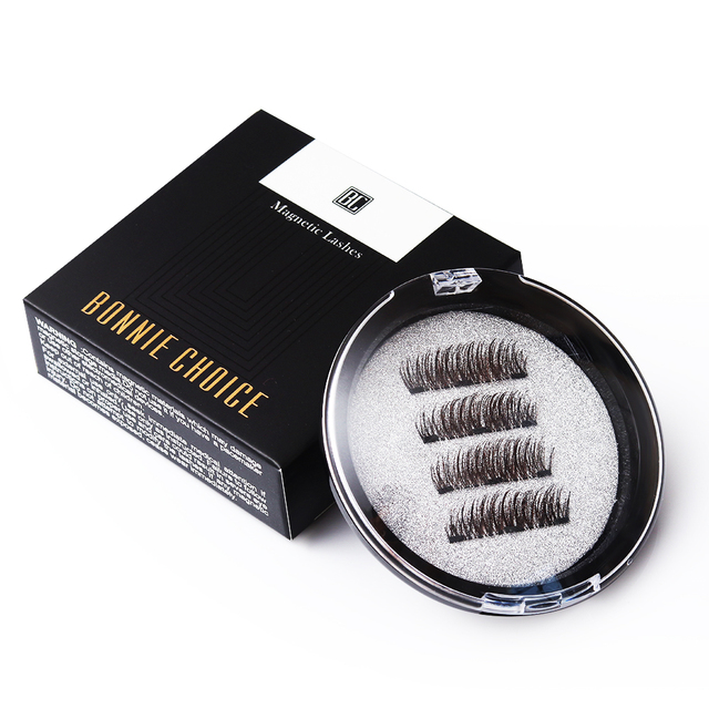 efc8407268a BONNIE CHOICE 4 Pcs/1 Pair Magnetic False Eyelashes Triple Magnet Hand Made Fake  Eye Lash Extension Beauty Makeup Art Accessory