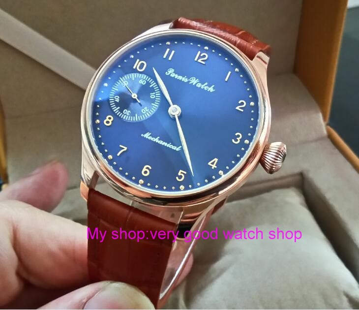 все цены на 44mm PARNIS blue dial 17 jewels Asian 6497/3600 Mechanical Hand Wind movement men's watch Rose gold case Mechanical watch 328A онлайн