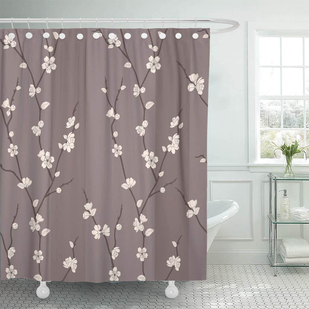 fabric shower curtain beige japanese beautiful with sakura branches brown flower blossom branch cherry asian bathroom curtains