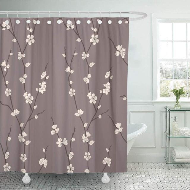 Fabric Shower Curtain Beige Japanese Beautiful With Sakura Branches Brown Flower Blossom Branch Cherry Asian Bathroom