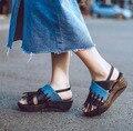 Cuñas de la manera plataforma de la borla de las mujeres sandalias de playa zapatos de diapositivas