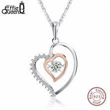 415b5f000c19 Effie reina brillante parpadeo del diseño del corazón del Zircon cristal colgante  plata 925 collar bonito regalo mujeres joyas B..