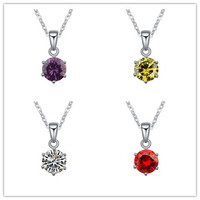 2015 High Quality Classic Zircon Crystal Round Pendant Necklace For Wholesale Price