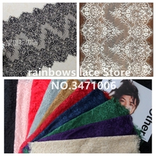 3 Meter / lot 40 cm wide Eyelashes lace trim flower lace fabric handmade diy clothes accessories Wedding tablecloth curtain lace