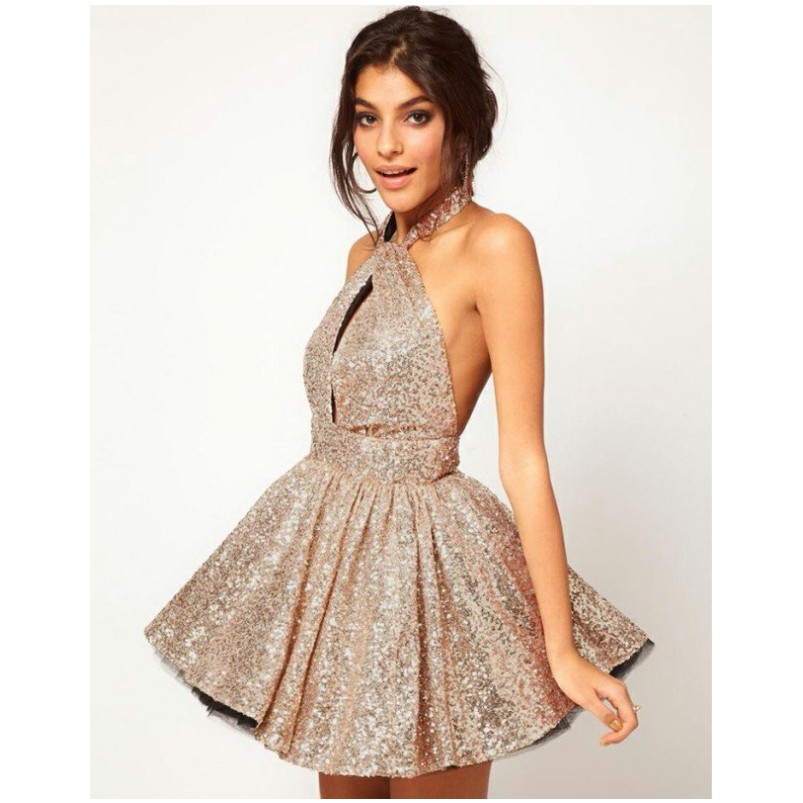 fca487fc4 Aliexpress.com   Buy Glamorous Halter Sleeveless Short Cocktail Dress Open  Back With Sequins vestidos de coctel from Reliable short cocktail dress  suppliers ...