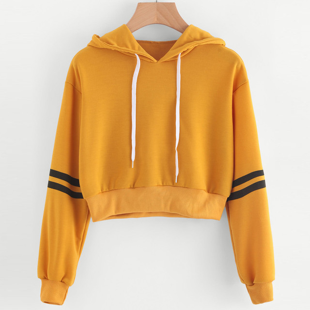 Women Varsity-Striped Drawstring Hoodies Cropped Sweatshirt Korean Style Sweatshirt Top Tees Autumn Clothes 121