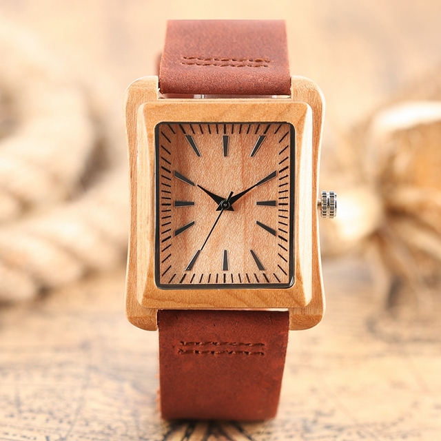 Creative Rectangle Dial Wood Watch Natural Handmade Light Bamboo Fashion Men Women Casual Quartz Wristwatch Genuine Leather Gift 2