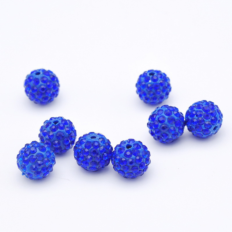 Wholesale10mm12mm14mm Deep Blue Clay Disco Ball Pave Crystal Shamballa Beads For Jewelry necklace And Hand Catenary Making Diy Jewelry & Accessories Beads