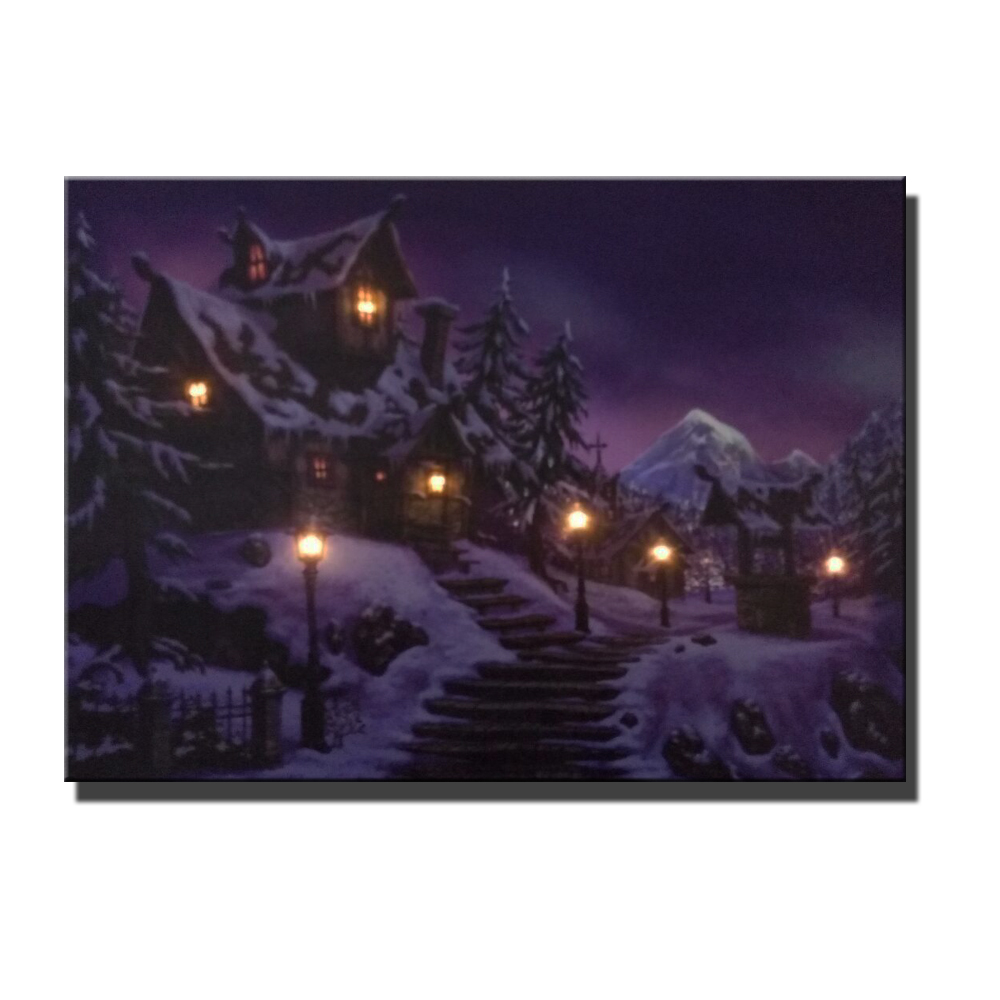 Canvas wall art with led lights canvas print village cottages street lamp in winter wall decor picture canvas painting for home in painting calligraphy