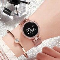 2019 New Luxury Smart Watch Women Girl Diamond Mounting Design Heart Rate Calorie Fitness Tracker IP68 Sleep Tracker Smart watch