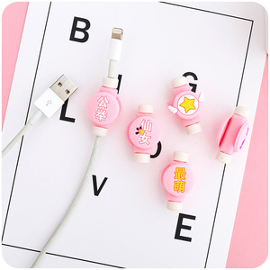 Image 3 - Creative Cartoon Kawaii Stars Chinese haracters USB Cable Earphone Line Saver For Mobile Phone Charging Data Line Protector DM