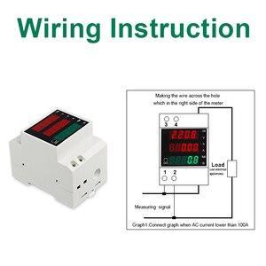 Image 5 - LEDSMITH D52 2047 DIN レール多機能デジタルメーター AC 80 300 V 0 100A アクティブ力率電気エネルギー電流計電圧計
