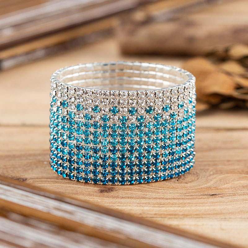 12 Rows Sky Blue Crystal Rhinestone Bangle Bracelet Silver Plated Wedding Bridal Wide Crystal Stretch Bracelet for Women (2)
