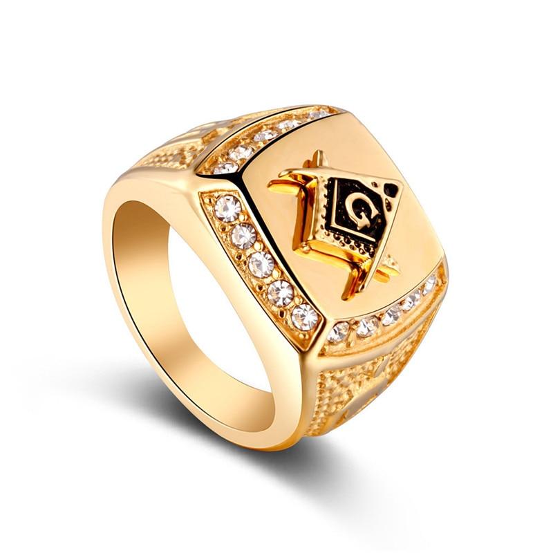 Freemason Masonic Band Gold Stainless Steel Ring Vintage Mason Jewelry Rings for Men US Size 9-112