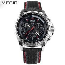 MEGIR Men's Casual Watches Casual Quartz-Watch Black Leather Wristwatches For Male MG1010 цена и фото