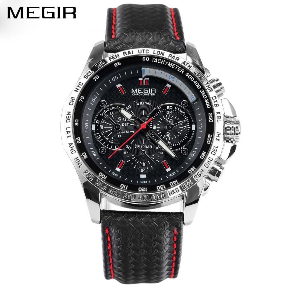 MEGIR hombres relojes Casual reloj de cuarzo reloj Masculino reloj negro pulsera de cuero para hombres MG1010 Relogio Masculino