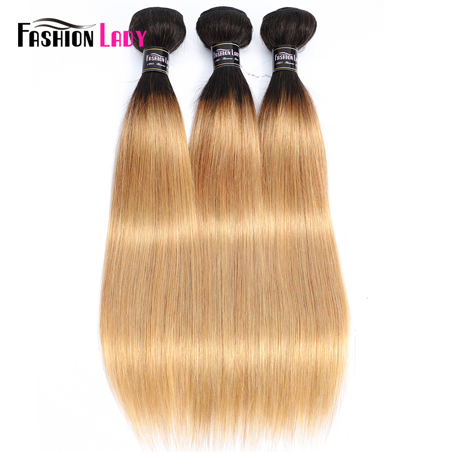 FASHION LADY Pre-Colored Brazilian Straight Hair Human Hair Weave 1B/27 Ombre Human Hair Bundles 1/3/4 Bundle Per Pack Non-Remy