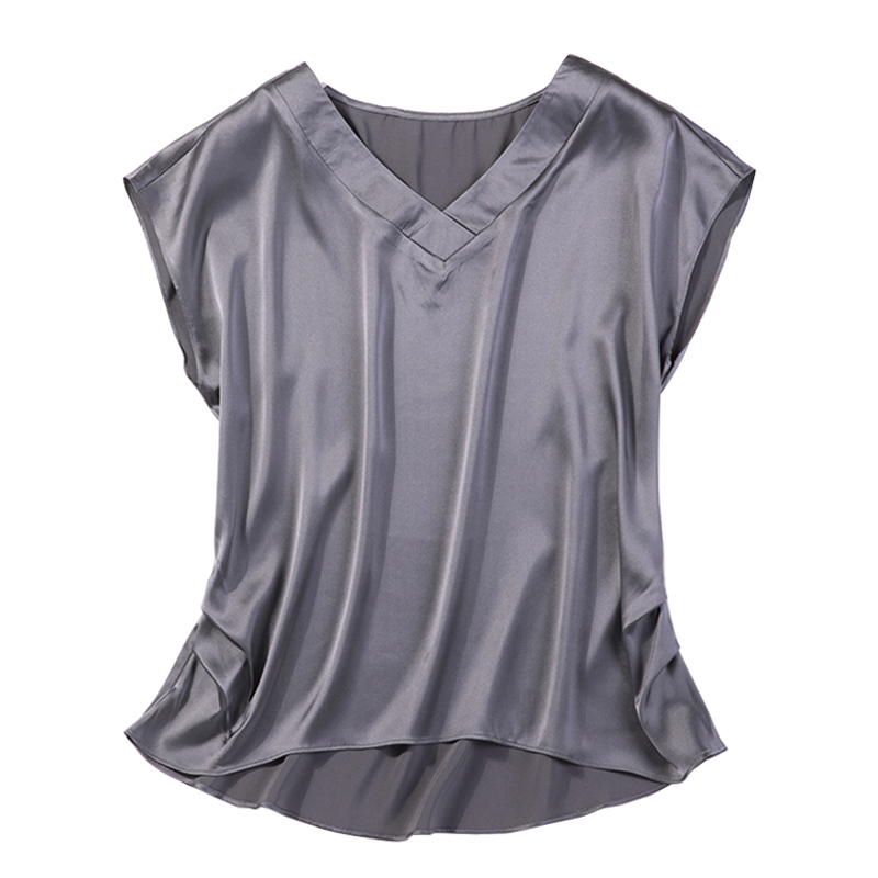 Women Summer 100% Natural Silk Blouse Real Silk short Sleeve Basic Shirt dark grey casual Top Shirts Silk Blouses for Women