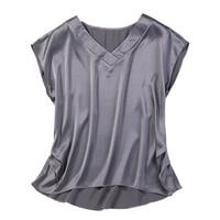 Women Summer 100% Natural Silk Blouse Real Silk short Sleeve Basic Shirt dark grey casual Top Shirts Silk Blouses for Women