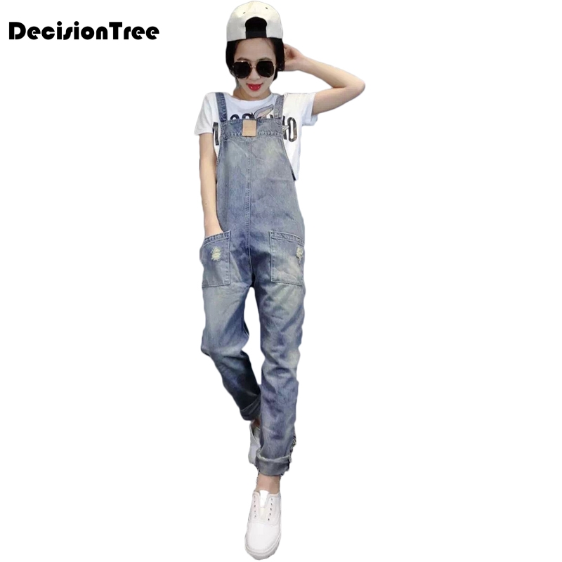 2019 denim jumpsuits women vaqueros romper long pants jeans demin skinny overalls suspender female catsuit
