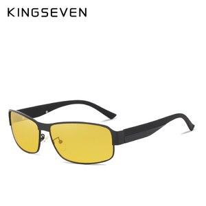 Image 4 - KINGSEVEN Night Vision แว่นตากันแดดผู้ชายแว่นตาสีเหลืองขับรถแว่นตา Polarized Sun แว่นตา Night gafas de sol