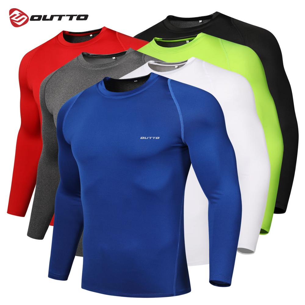 Outto Men's Cycling Base Layers Long Sleeves Compression Tights Bicycle Running Jersey Sports Underwear Fitness Gym Clothing
