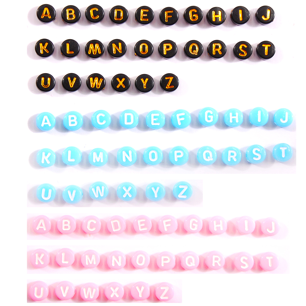 50pcs/lot Custom Letter 4*7mm Acrylic English Alphabet Beads For Jewelry Making Kid Diy Material Loose Spacer