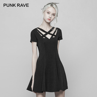 PUNK RAVE New women's Summer Black short sleeve A Line Dress Gothic Daily fashion Women Sexy Party Dresses