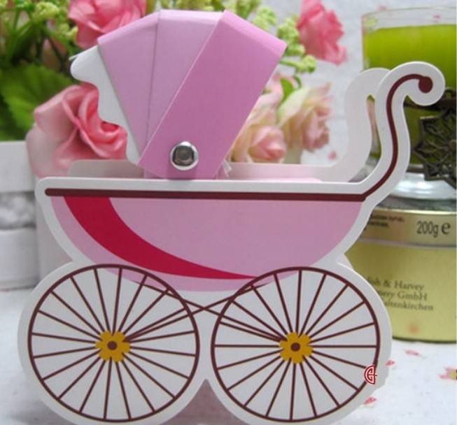 Baby Carriage Favor Candy Box For Baby Shower Newborn Birth Party