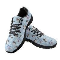 Women Flat Black Platform Shoes Ladies Light Blue Animals Dog Hole Pets Print Breathable Sneakers Outside Female Nurse Loafers