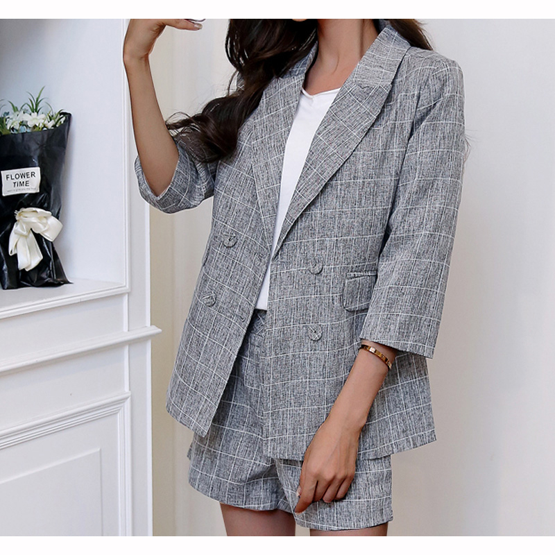 Summer Women Tracksuits Two Piece Set Women Outfits:Double-breasted Blazer+shorts Cotton Linen Gray Elegant Ladies Office Suits