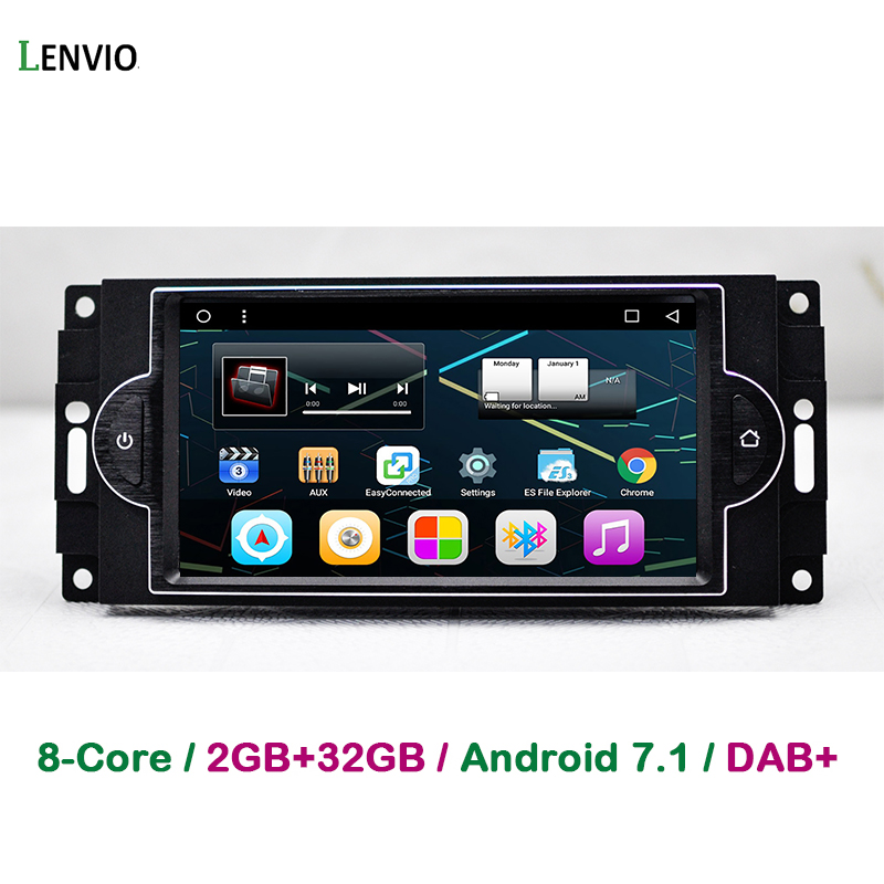 Lenvio 2 GB + 32 GB de RAM Android 7.1 de Navegação GPS DO CARRO Para Dodge RAM Jeep Wrangler Commander Compass Grand cherokee Chrysler 300C