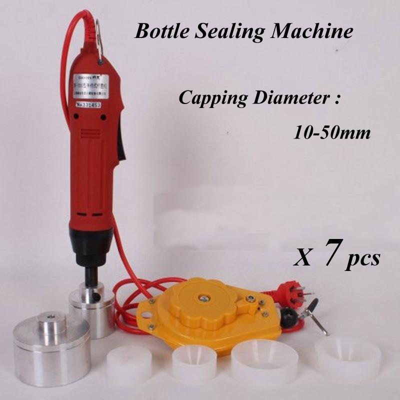 ФОТО 7 Sets Electric Capping Tools Equipment Handheld Pharmaceutical Bottle Capper Foils Jar Locking Machine
