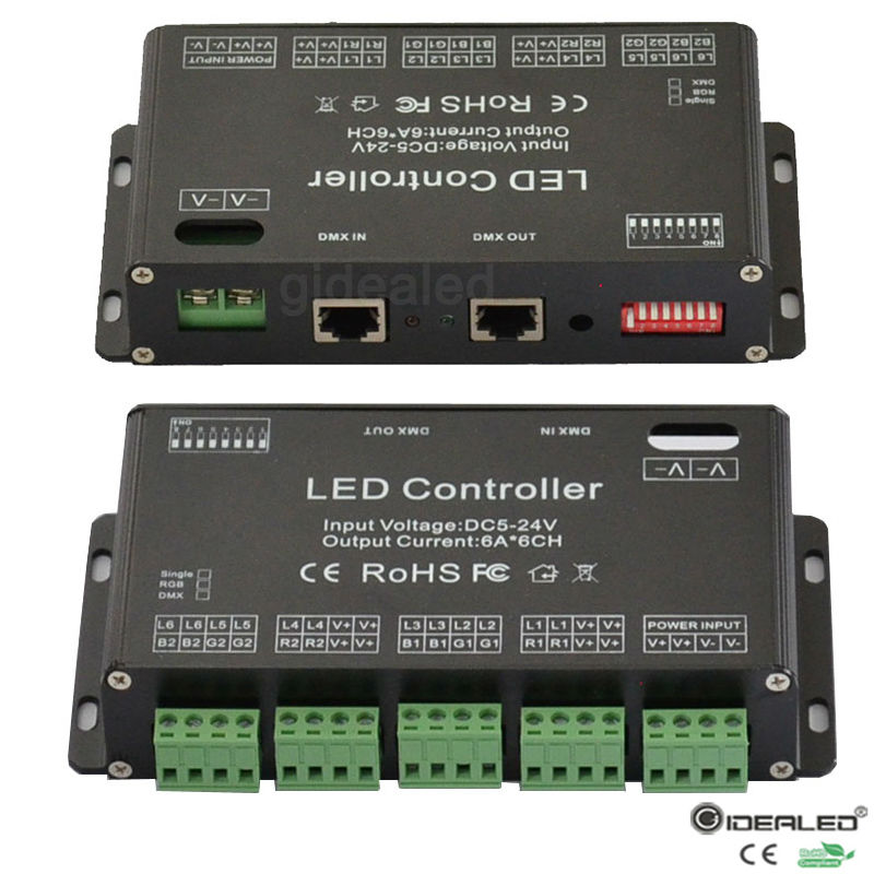 ФОТО DC5V-24V 6 Channel RGB DMX512 Controller high power DMX dimmer drive RGB strip Controller