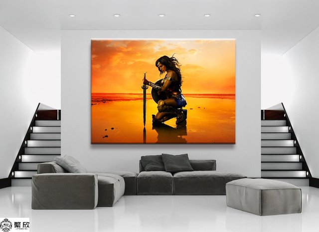 Wonder Woman Wall Art aliexpress : buy 1 panel dc wonder woman movie canvas printed
