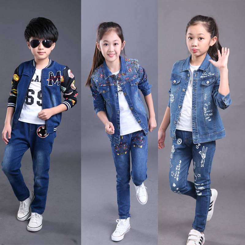 Spring Suits 12Y Kids Clothes Set 2Pcs Boys Girls Denim Sets Denim Jacket for girl Coat + Jeans Pants two pieces set Cowboy Coat 2pcs children outfit clothes kids baby girl off shoulder cotton ruffled sleeve tops striped t shirt blue denim jeans sunsuit set