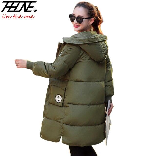 2016 Casacos de Inverno Mulheres de Down Parkas Casaco Quente Outwear Casaco Com Capuz Moda Plus Size Preto Casacos Jaqueta Militar Feminino