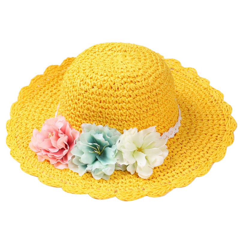 14dc600439a1a Happy Cherry Simple Style Baby Girl Straw Floral Floppy Hat Infant Solid  Color Sun Hat Hand woven Kids Wide Brim Cap for Summer-in Hats   Caps from  Mother ...