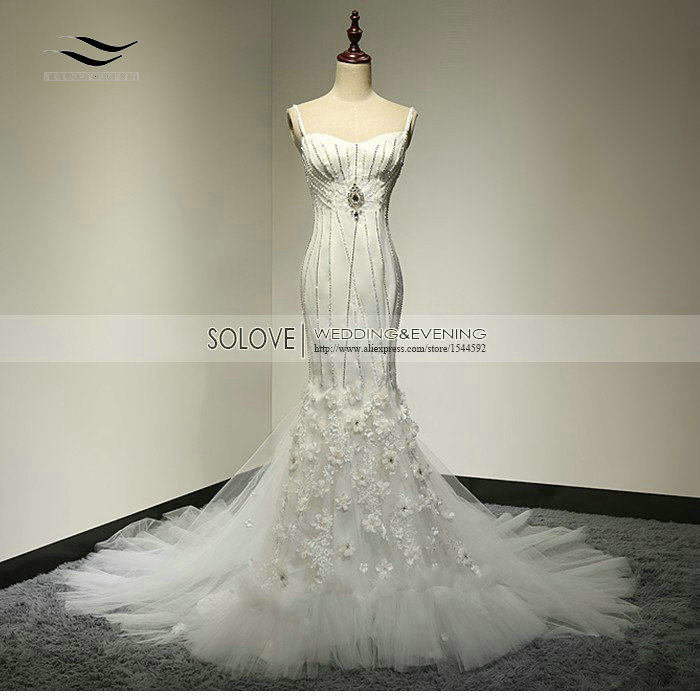 2015 Spaghetti Tali Tangan Made Flower Manik Tulle Wedding Dress 2015 Mermaid Bridal Dress vestidos de noiva (SLW-063)