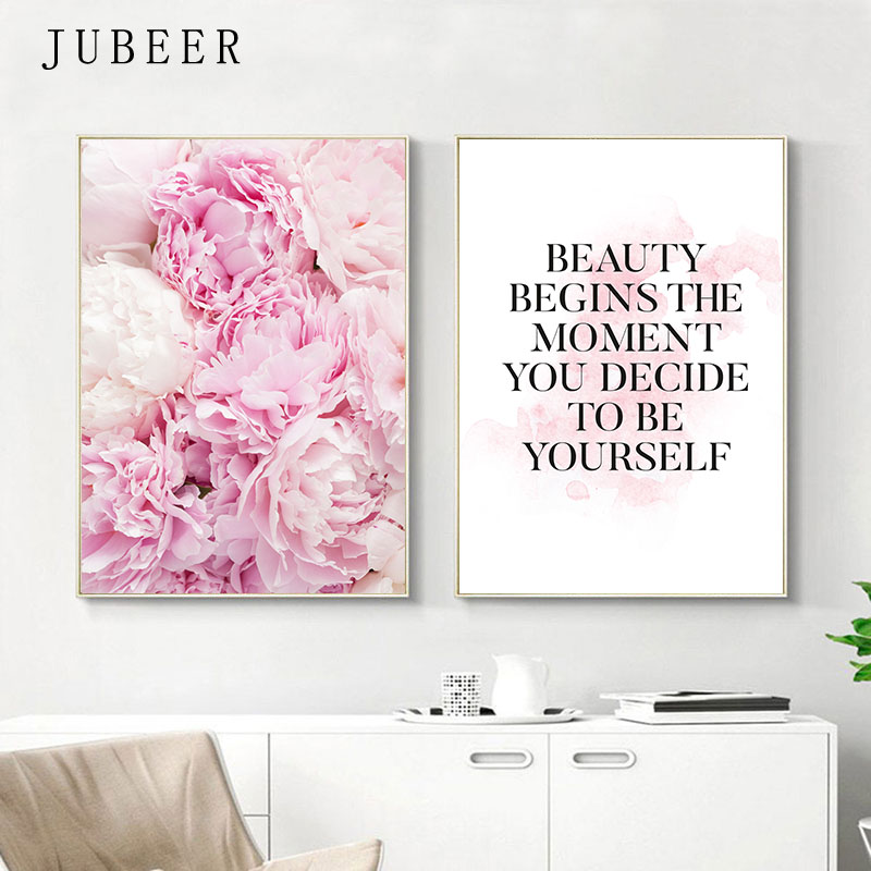 Scandinavian Poster Pink Peony Flower Wall Art Print Quotes Posters And Prints  For Living Room Wall Painting Home Decor Picture