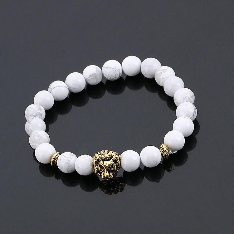 Fashion Jewelry Gold Buddha Leo Lion Head Bracelet Black Lava Stone Beaded Bracelets Pulseras Hombre For Men Women