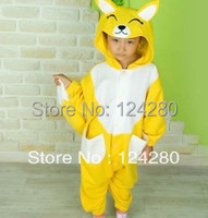 Free Shipping Kigurumi Kids Unisex Fox Onesies Animal Pajamas Costumes Fleece Cosplay Pyjamas Fox Costume For