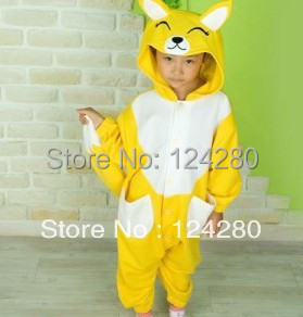 Kids Baby Boys Girls Cute Yellow Fox Onesies Cosplay Pyjama Winter Cartoon Animal Pajamas Polar Fleece Halloween Cosplay Costume