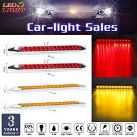 keyecu 4pcs Red/Amber 15 LED Light ID Bars Stop Turn Signal Tail Brake Truck Trailer w/ Chrome Bezels 12V