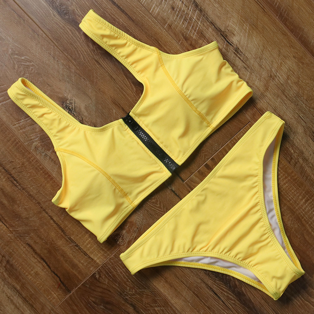 <font><b>2018</b></font> Zipper <font><b>Bikini</b></font> Women Push Up Swimsuit <font><b>Sexy</b></font> Solid <font><b>Bikini</b></font> <font><b>Set</b></font> Sports Style Swimwear Women's Swimming Bathing Suit Beachwear image