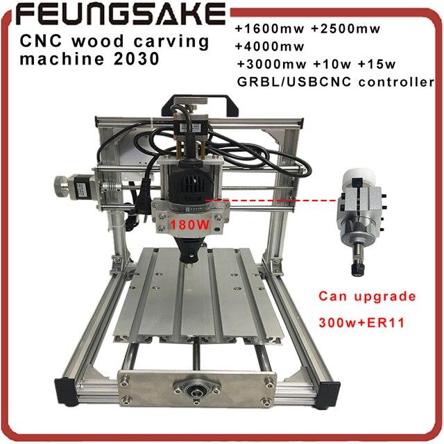 2030cnc GRBL USBCNC Diy mini CNC soporte de la máquina láser 180 w/300 w máquina de grabado del huso, de 3 Ejes fresadora de pcb, Madera Router