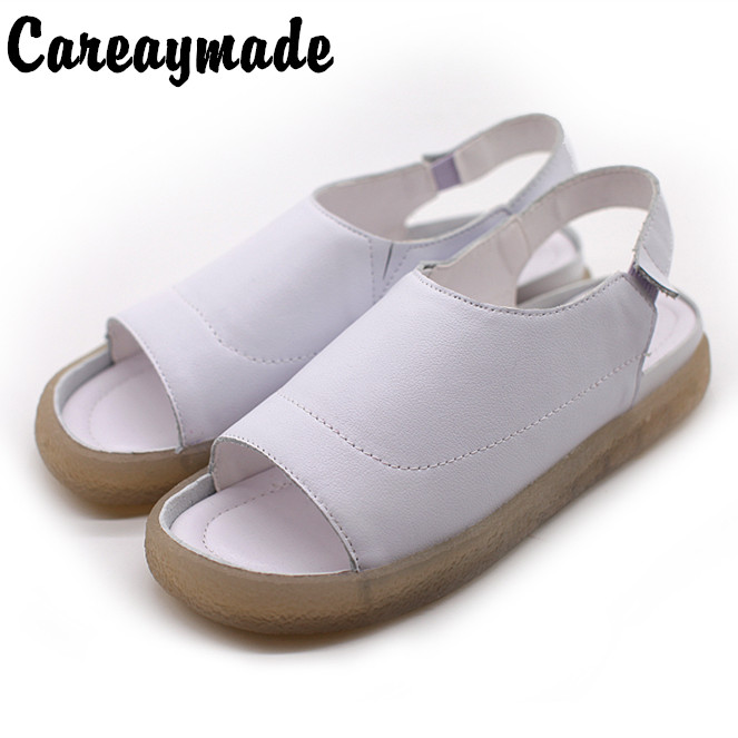 Careaymade New Cowhide Flat heeled Leaky toed Fish mouth Shallow mouthed Women s Sandals Leisure Light