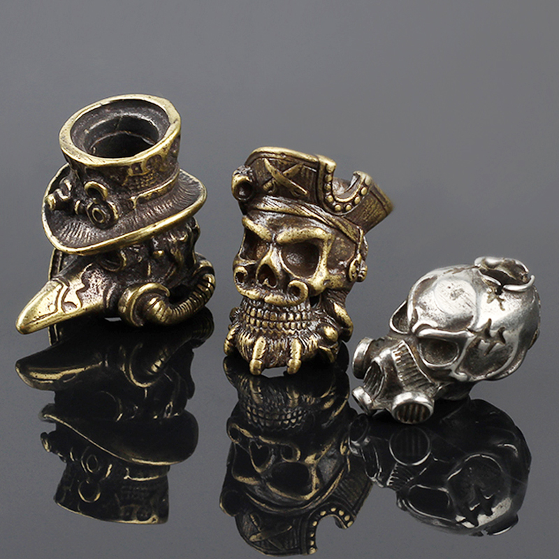 Crow EDC DIY Knife Beads Pendant Vintage Color Brass Outdoor Tools White Brass Skull Paracord Beads earrings