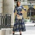 S-xxxl de la vendimia de lujo impresa de las mujeres plisado maxi dress plus tamaño de primavera de cuello de 3/4 oscilación de manga larga vestidos de bata longue femme